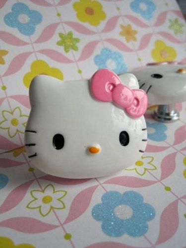 Hello Kitty Dresser Drawer Knob With Pink Bow Tk