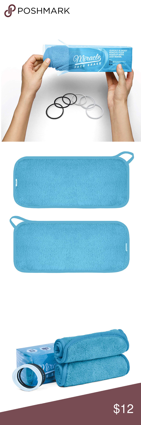 2Pack Blue Microfiber Makeup Remover Remove makeup from