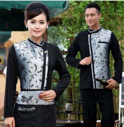 Long Sleeve Chinese Restaurant Waiter Uniforms Hotel
