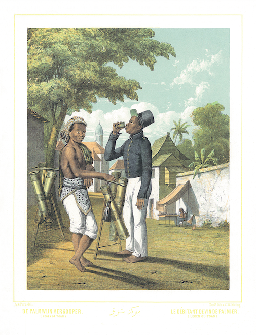 De Palmwijn Verkooper – Debitant De Vin De Palmier A rare and much sought after coloured lithograph print by Auguste van Pers (1815-71), from original drawings by the French artist, Ernest Hardouin and published by...