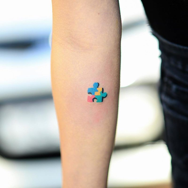 Colored Handpoked Tattoos By Zzizziboy Puzzle Tattoos Autism