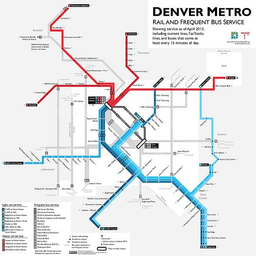 Denver Fastracks And Frequent Bus Map