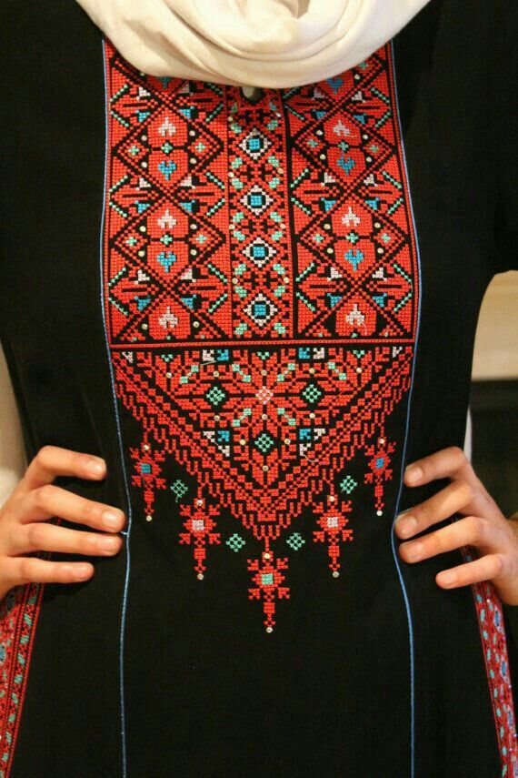 Pin by Reham Al Shafei on Palastinian tatrez | Embroidery fashion,  Embroidery on clothes, Palestinian embroidery dress