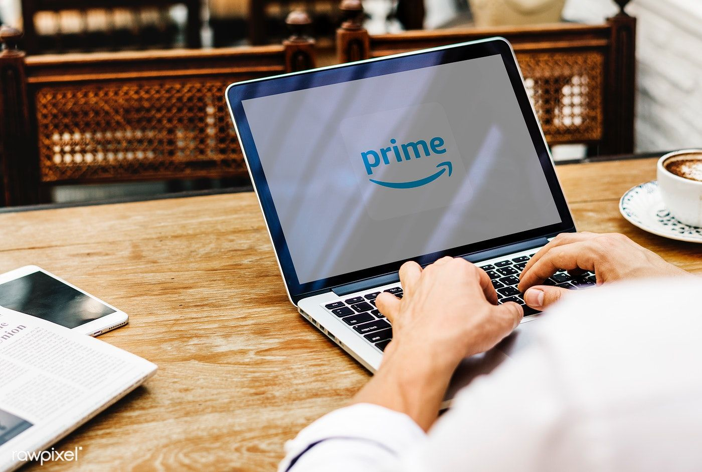 Amazon Prime Video logo showing on a laptop   free image by