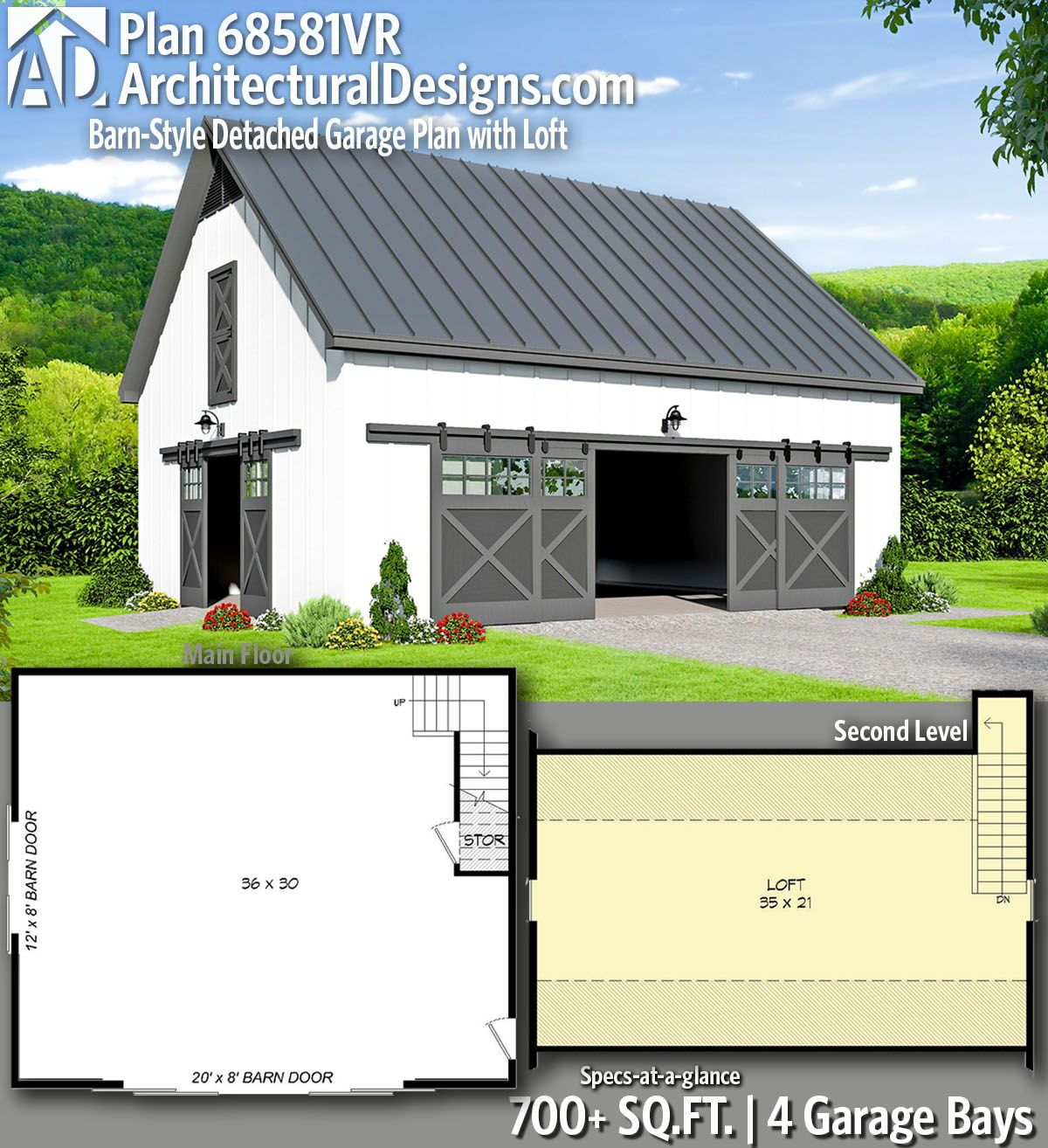 Architectural Designs Carriage House Plan 14631rk Gives: Plan 68571VR: Modern Duplex House Plan With An RV Garage