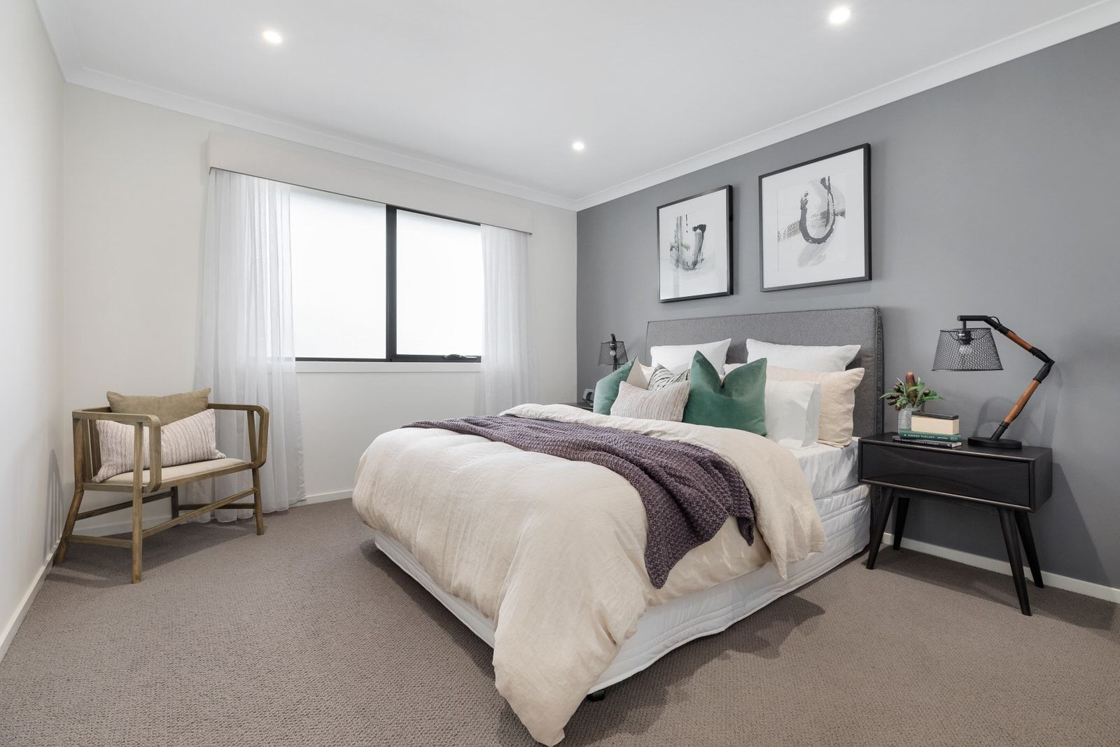 How To Style A Bed A Step By Step Guide Tlc Interiors Feature Wall Bedroom Light Gray Bedroom Gray Bedroom Walls