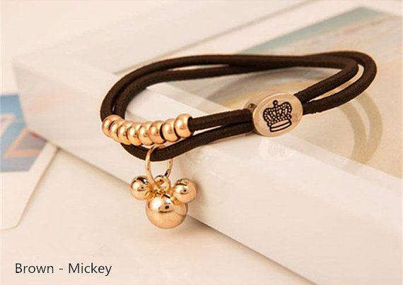 Metal Charm Ponytail Holder Beads Hair Elastic Band Bracelet