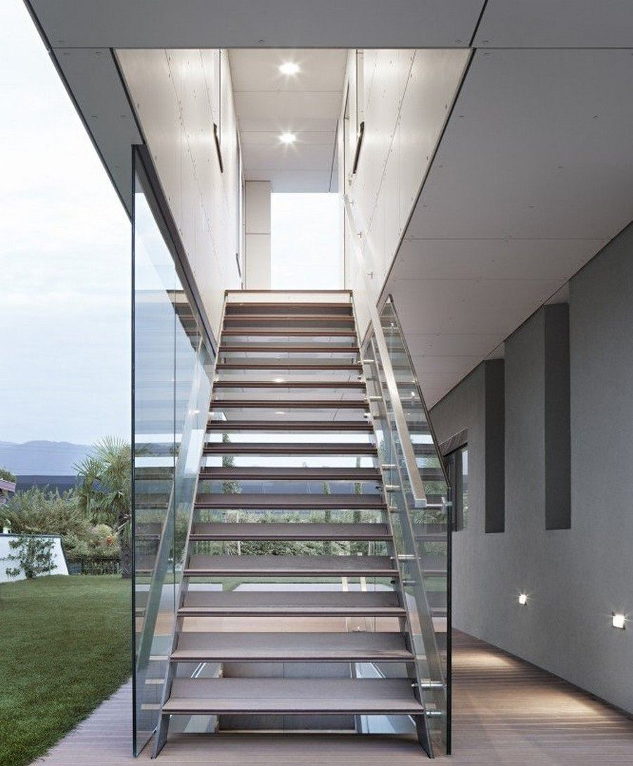 Outside Metal Staircase Modern Arquitetura E Design   Stairs Railing Designs In Steel And Glass