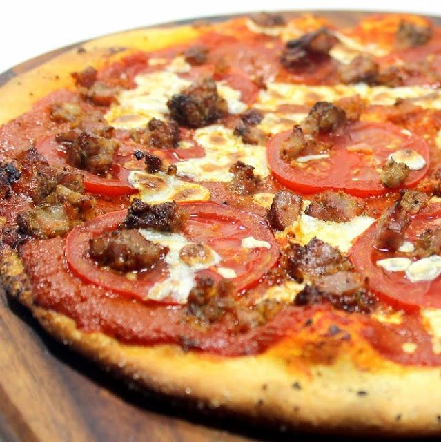 Inspired By eRecipeCards: Spicy Italian Sausage and Tomato Pizza Pie - Brick Oven Pizza at Home