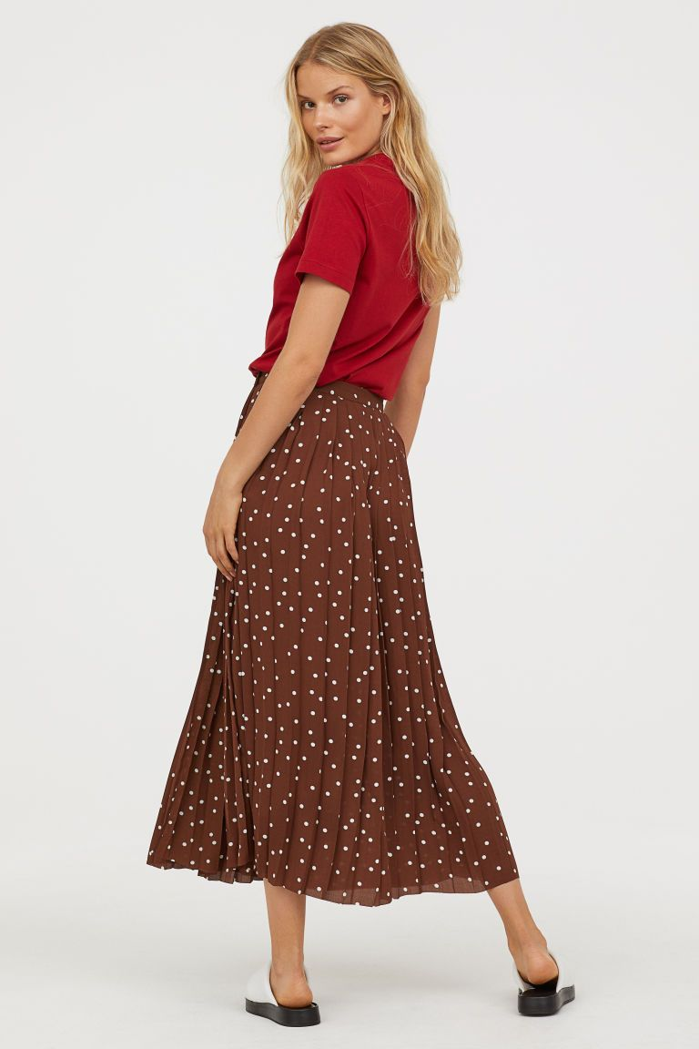 Pleated Wrap-front Skirt - Brown dotted - Ladies  401899620
