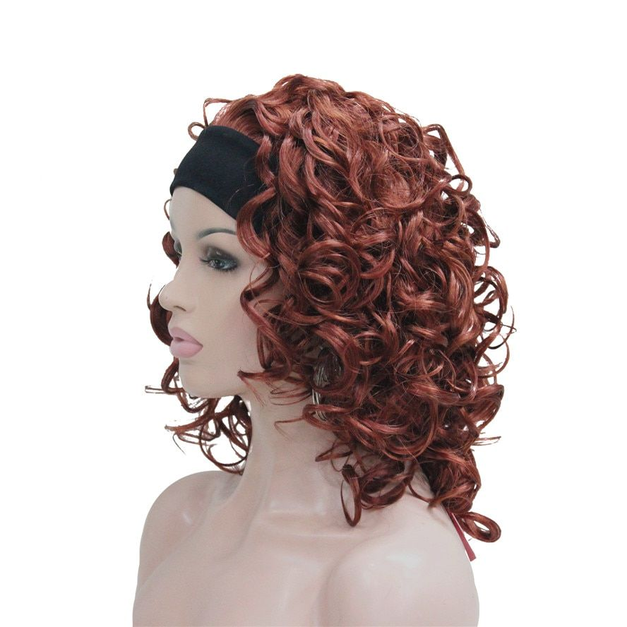 StrongBeauty Synthetic Wig Medium Length Curly Hair 3/4