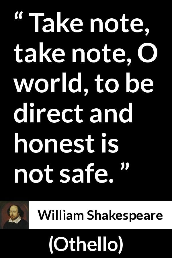 William Shakespeare Quote About Honesty From Othello 60 Adorable Othello Quotes