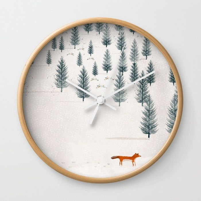 whimsical fox and hares in winter forest<br/> <br/> foxes,animals,nature,nature home decor,