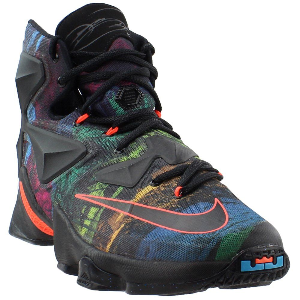 6e15a9d263c9 807219-008 Nike Lebron XIII Black   Hyper Orange   Blue Lagoon Size 10.5