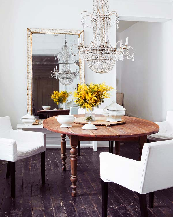 A Girl Can Dream But Mirror Placement Round Table For Dining Room For Sure More Crafty Chairs Let S Buy Mix Match Dining Room Design Interior Home Decor