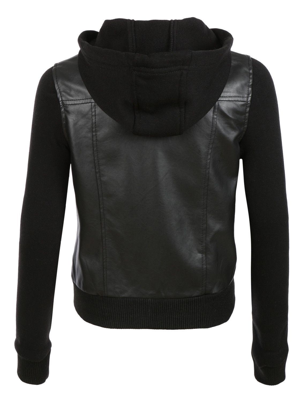 Womens faux leather moto bomber jacket with fleece hoodie fleece