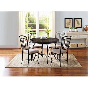 Better Homes And Gardens 5 Piece Dining Set, Faux Marble, 42 In Diameter