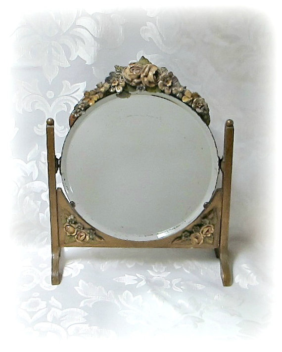 Barbola Mirror  Vintage Swivel Frame 1930s Barbola by Skylife