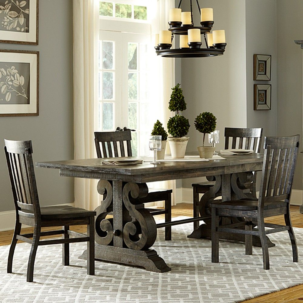 Bellamy Wood Rectangular Dining Table & Chairs in Deep Weathered ...