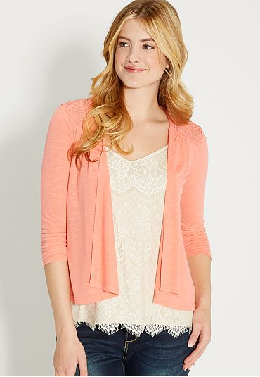 b0f76cb1dd lightweight cardigan with lace in passion fruit (original price