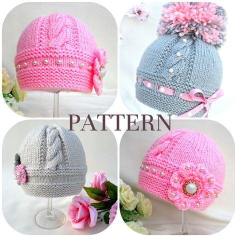 Knitting Pattern Baby Hat Baby Beanie Knit Pattern Infant Baby Girl ...