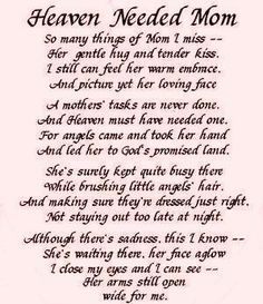 Mothers Day In Heaven Poem Miss You And Love Always Mom