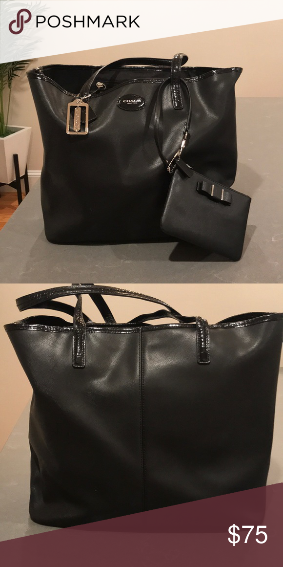 12bcd1d2135b ... promo code for black tote large black coach tote with wristlet. gently  used. coach
