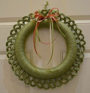 Photo of Crochet wreath with link for tutorial. 9/22/13, made it in a rusty red color for…