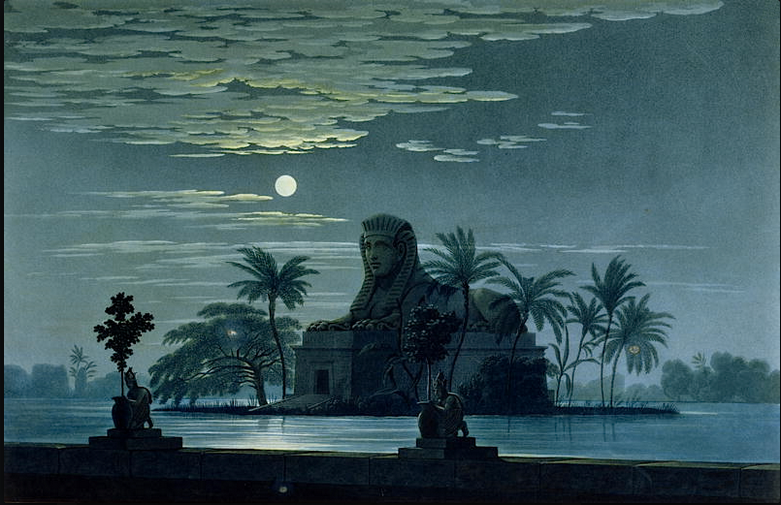 """Karl Friedrich Schinkel (1781–1841) - """"The Garden of Sarastro by Moonlight with Sphinx"""", stage decor design for Mozart's opera """"Die Zauberflöte"""" (The Magic Flute), 1815"""