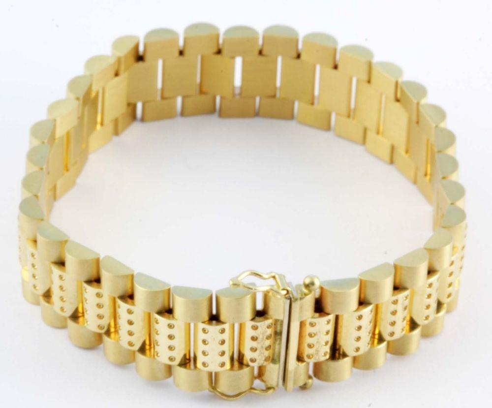 gram k yellow gold menus heavy fancy bracelet inch long