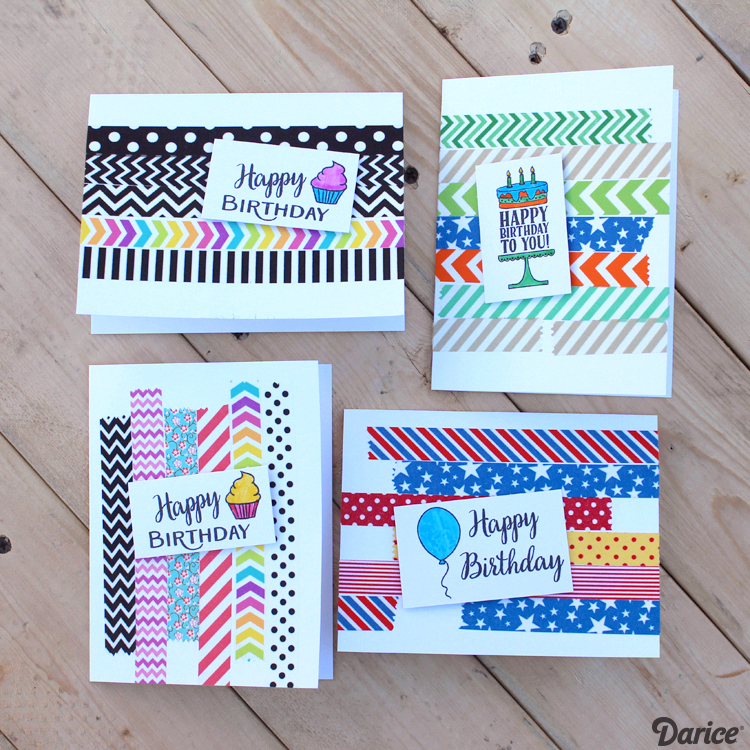 Birthday Card Ideas Handmade With Washi Tape Darice Birthday Cards Diy Handmade Birthday Cards Easy Birthday Cards Diy
