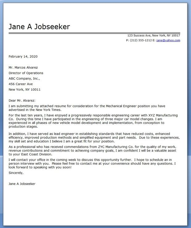 Cover Letter Mechanical Engineer Sample | Creative Resume Design ...