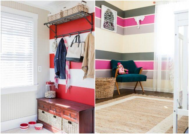 Wand streichen Ideen -streifen-horizontal-bunte-farben-flur - wand rosa streichen ideen