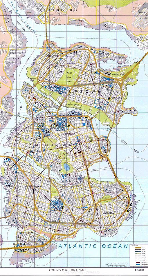 The Dark Knight Manual -- Gotham City map | The Batman | Pinterest ...