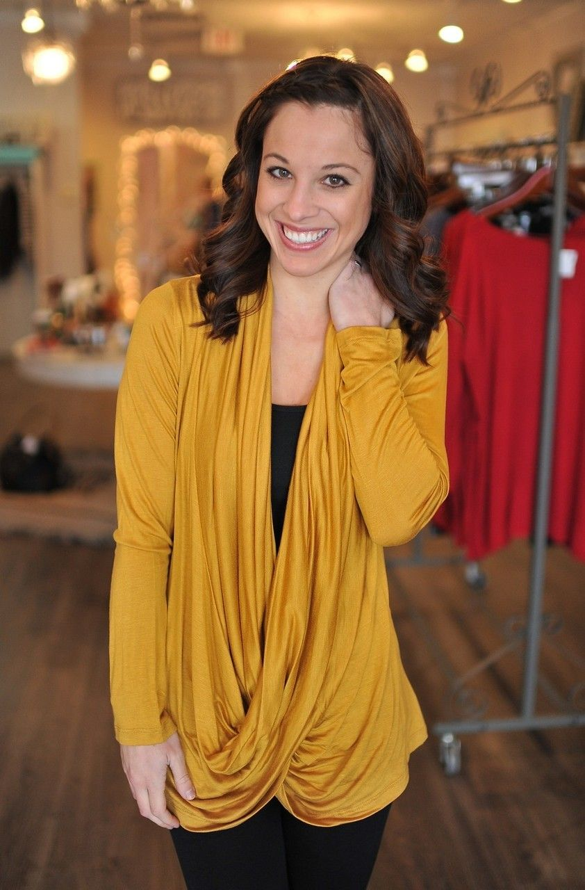 Fave Indy store :)  Dottie Couture Boutique - Draped Tunic- Mustard , $32.00 (www.dottiecouture...)