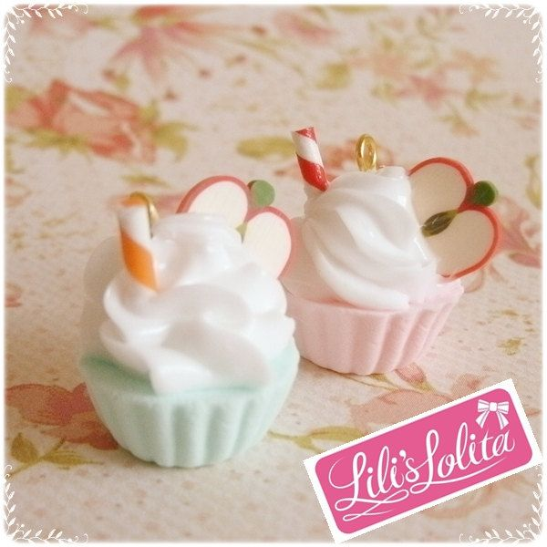 18mm. Cupcake Charms with Apple - Pastel Pink and Marine Blue Colors. $7.00, via Etsy.