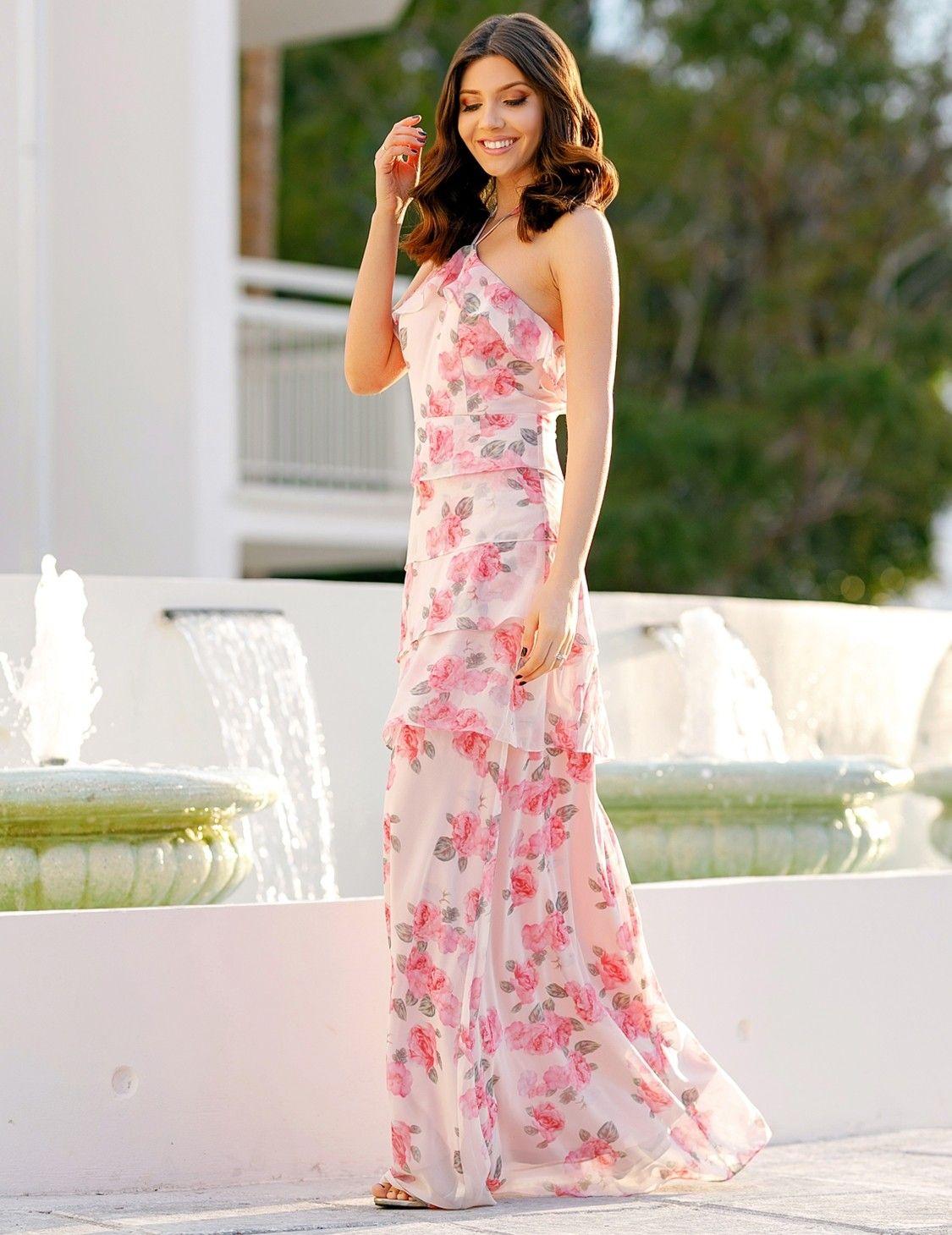 Floral Print Halter Maxi Dress Maxi Dress Wedding Guest Maxi Bridesmaid Dresses Maxi Dress [ 1460 x 1125 Pixel ]