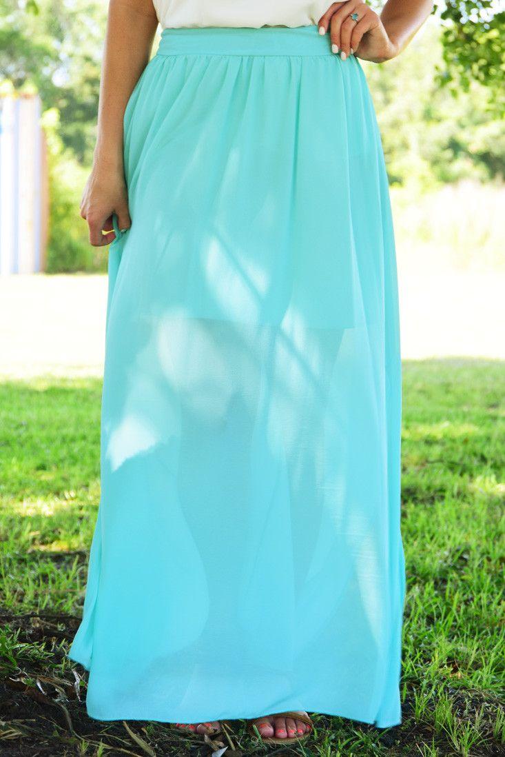 Burning So Bright Maxi Skirt: Mint #shophopes