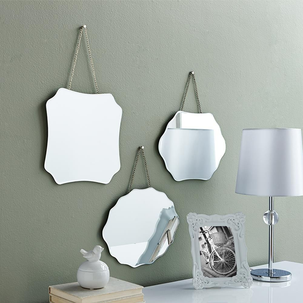 Set of 3 mirrors with small chain mirrors wall decor kids for Small wall art decor
