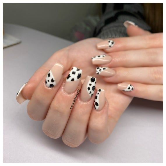 Homemade Press On Nails Cow Print In 2020 Cow Nails Press On Nails Nails