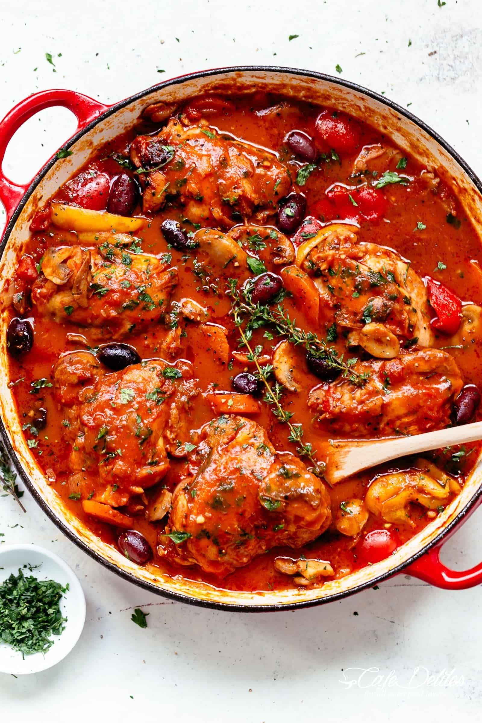 Raves The Best Chicken Cacciatore In A Rich Rustic Sauce W Chicken Falling Off The Bone I Cacciatore Recipes Italian Comfort Food Chicken Cacciatore Recipe