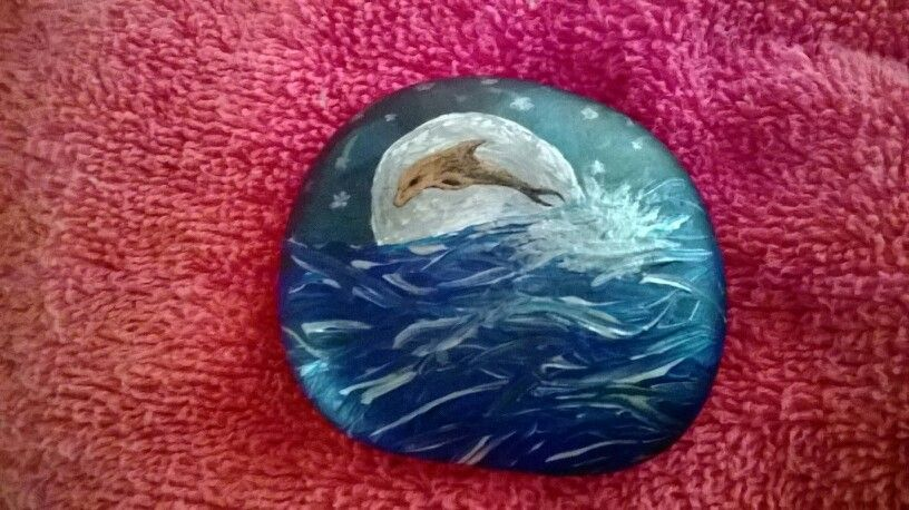 Beautiful dolphin rock painted rocks rock painting