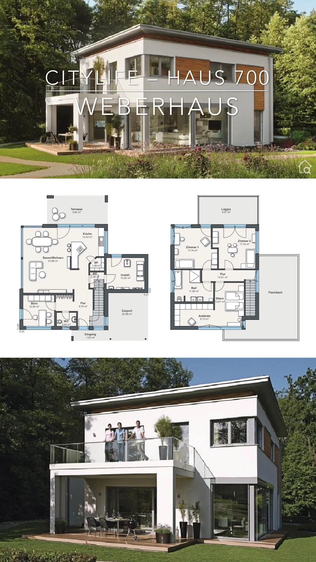 Modernes Haus Design mit Flachdach Grundriss offen mit Holz Putz Fassade