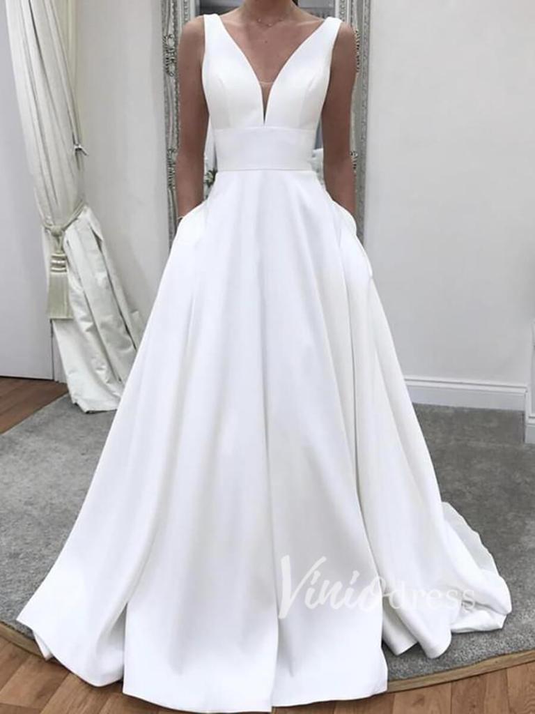 V Neck Simple Wedding Dresses With Pockets Vw1180 Elegant Wedding Dress A Line Wedding Dress Wedding Dresses [ 1024 x 768 Pixel ]