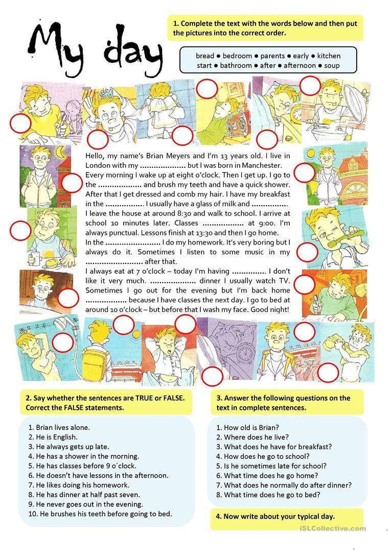 MY DAY worksheet - Free ESL printable worksheets made by teachers ...