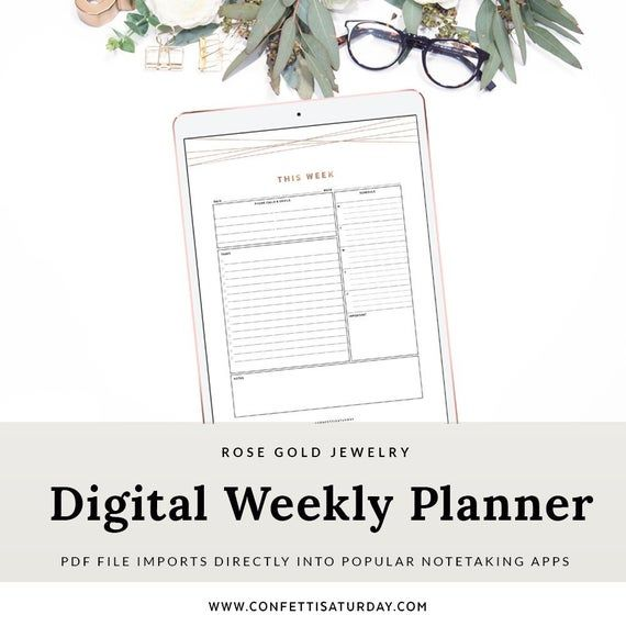 Digital Weekly Planner Page, for Goodnotes and Notetaking