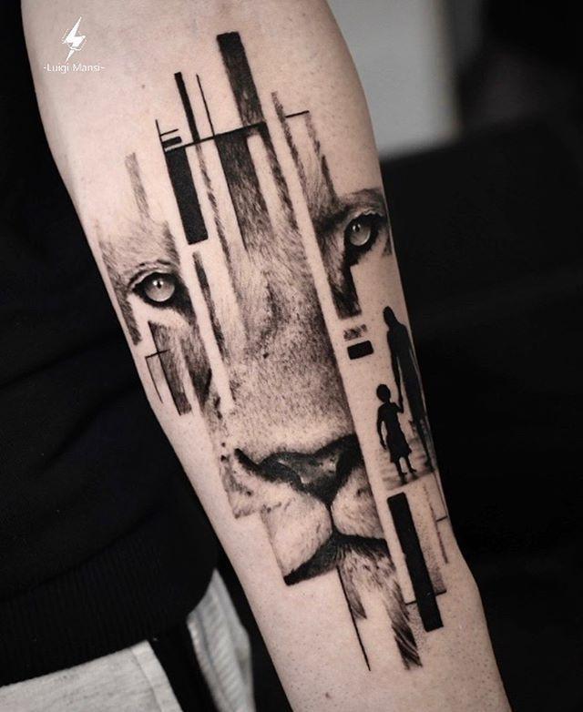 DotReal Geometric Tattoo lion. Do you like this new concept? Luigi Mansi Tattoo Artist (LT) -Realistic tattoo B&G/Color -DotReal Tattoo -Surrealistic Tattoo | Realistic Tattoos lion | realistic lion tattoos color #ink #tattoo #tatuaggio #art #inked #inkedmag #tatuaggi #tattooartist #minirealistictattoo #realistictattoo #blackandwhite #firstpost #realism #dailyart #artist #killerinktattoo #photography #blackandgraytattoo