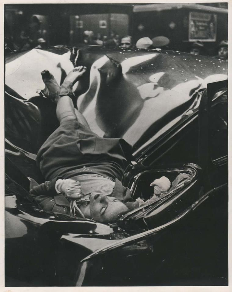 """Le Journal de la Photographie (français) Robert Wiles, """"Evelyn Francis McHale"""", May 1, 1947 silver gelatin print on heavy glossy fibre paper, printed 1947 24,2 (25,4) x 19,2 (20,6) cm, verso newspaper clipping: crumpled sedan she struck on West 33rd Street. © 1973 Time Inc. Life Magazine, 12 May 1947 issue This image was appropriated by A. Warhol in his 1963 painting """"1947–White"""" Courtesy, Galerie Daniel Blau Munich/London"""