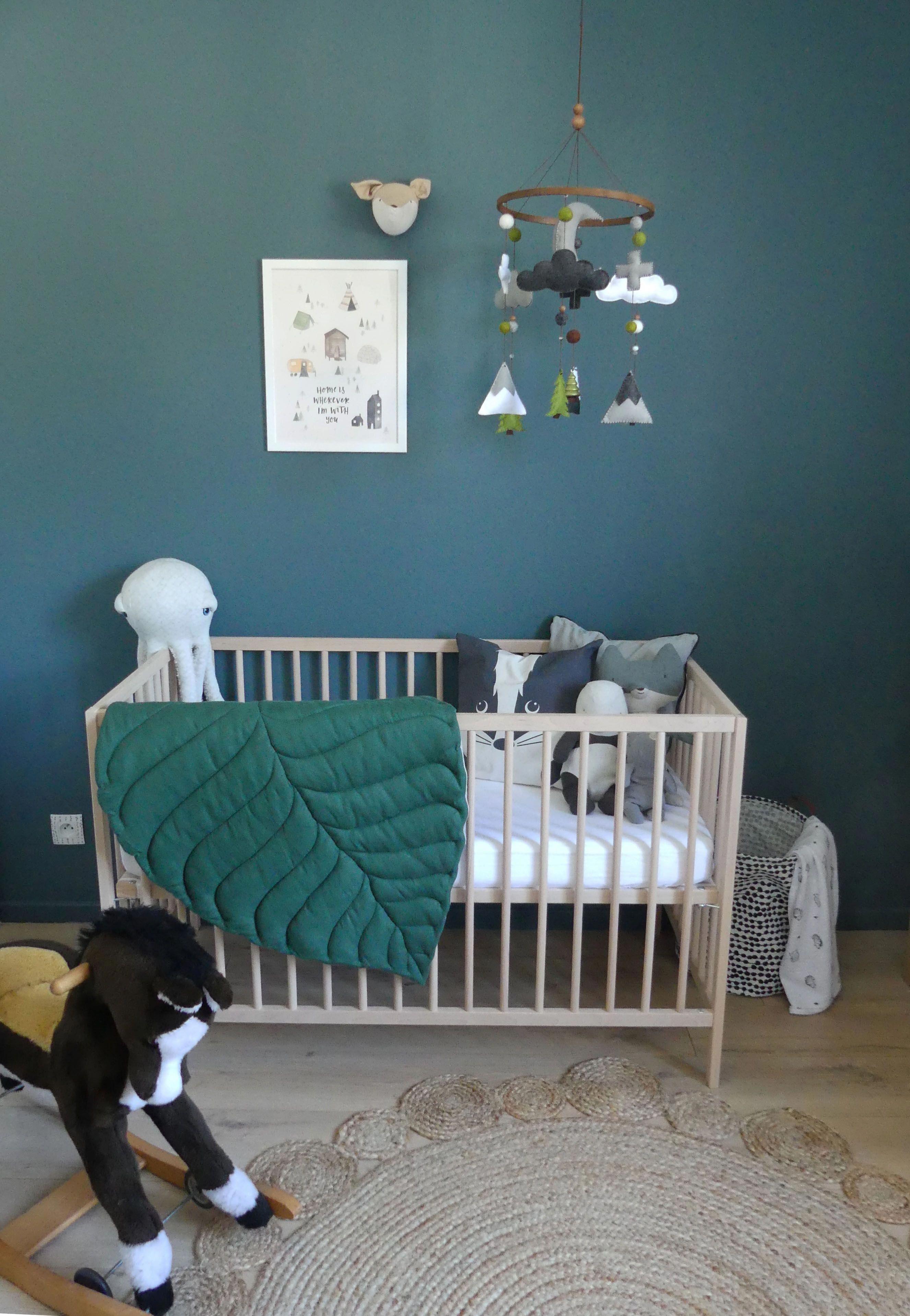 Chambre De Bébé Garçon Gris Bleu Et Vert, Inspiration Scandinave, Mixte,  Neutre Et Chaleureuse. Lit Ikea. #bricolagemaisonchambre
