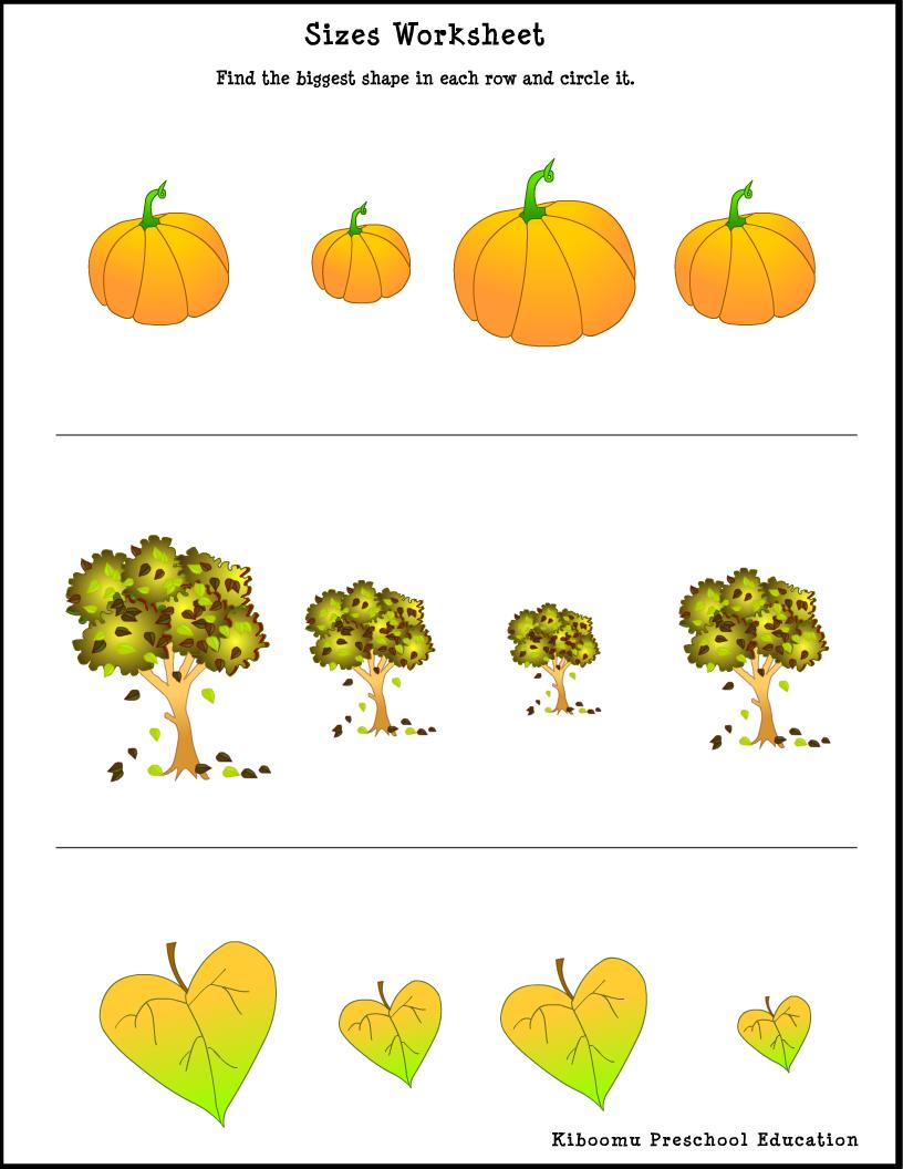 Sorting Sizes Worksheet Worksheets For Kids Preschool Education Fall Worksheets [ 1056 x 816 Pixel ]